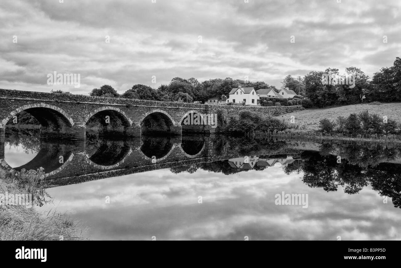 Black and white Image of a bridge in West Cork, Ireland. - Stock Image