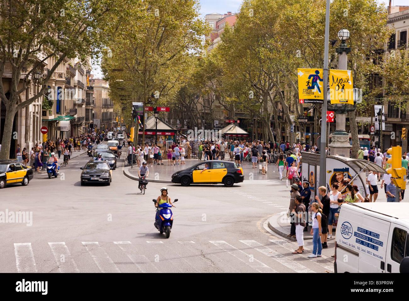 View of La Rambla from the Placa de Catalunya in Barcelona Spain - Stock Image