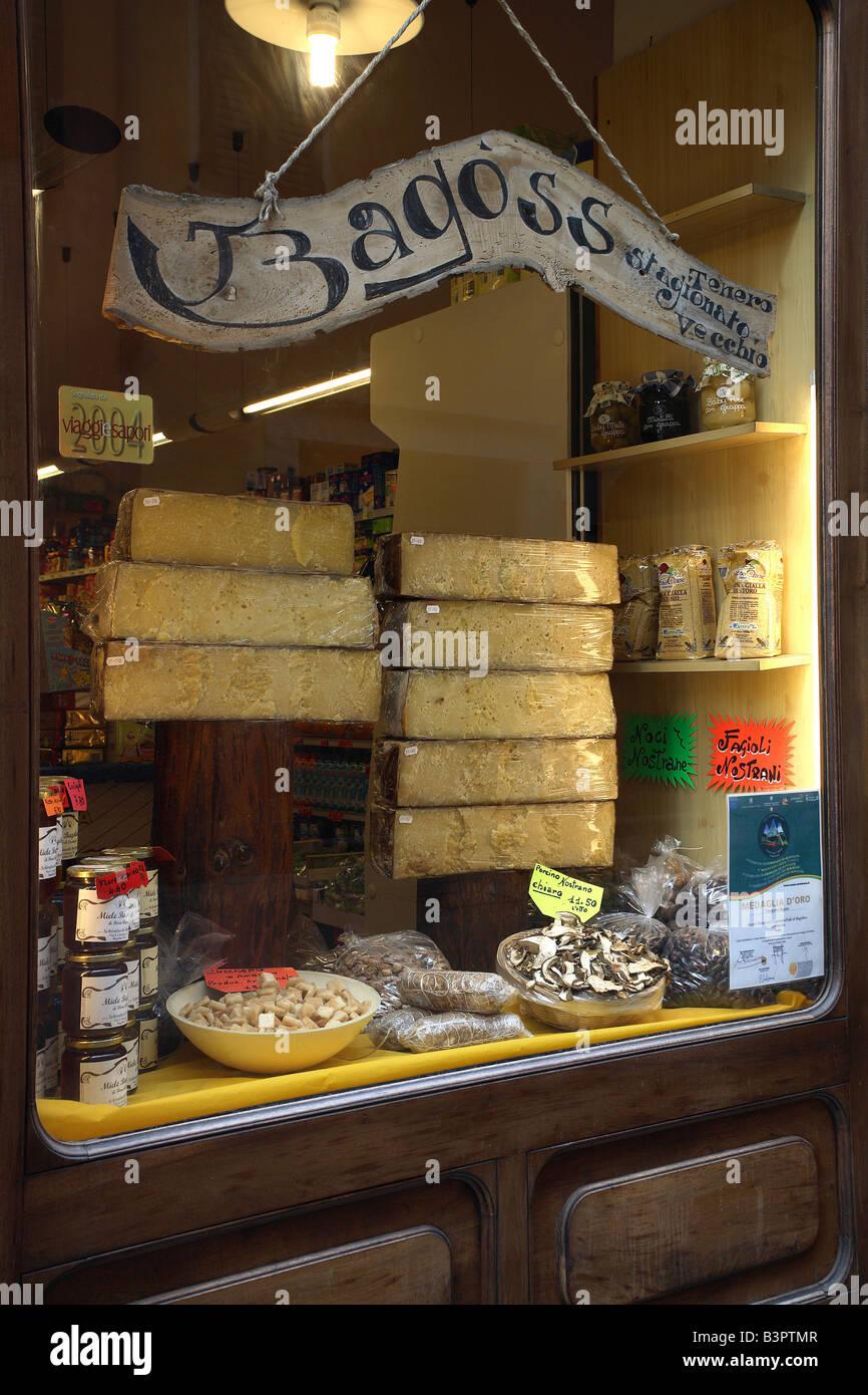 Bagoss typical cheese, Buccio Mario Cooperativa shop, Bagolino, Lombardy, Italy - Stock Image