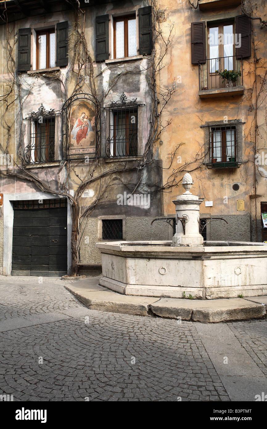 Fountain, Bagolino, Lombardy, Italy Stock Photo