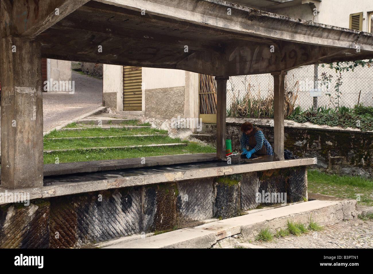 Washing, Bagolino, Lombardy, Italy - Stock Image