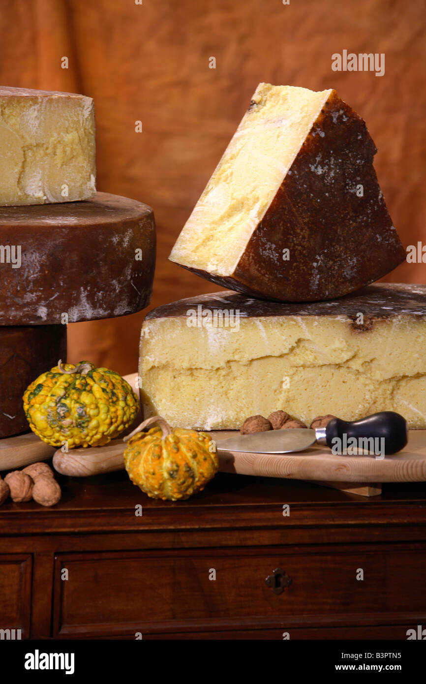 Bagoss typical cheese, Bagolino, Lombardy, Italy - Stock Image