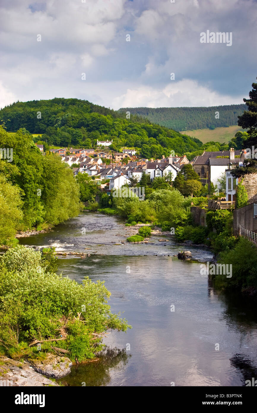 View of the river Dee and Llangollen Denbighshire North Wales UK 2008 Stock Photo