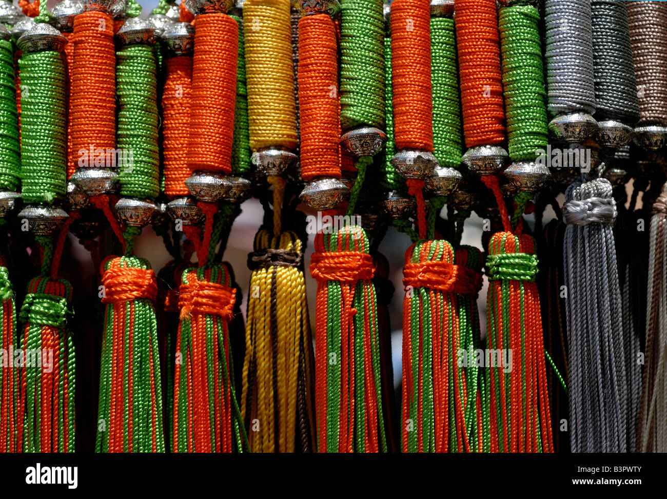 Tastles for keys, door knobs and chests of draws vibrant colours travel Marrakech Morrocco Africa Interior design - Stock Image