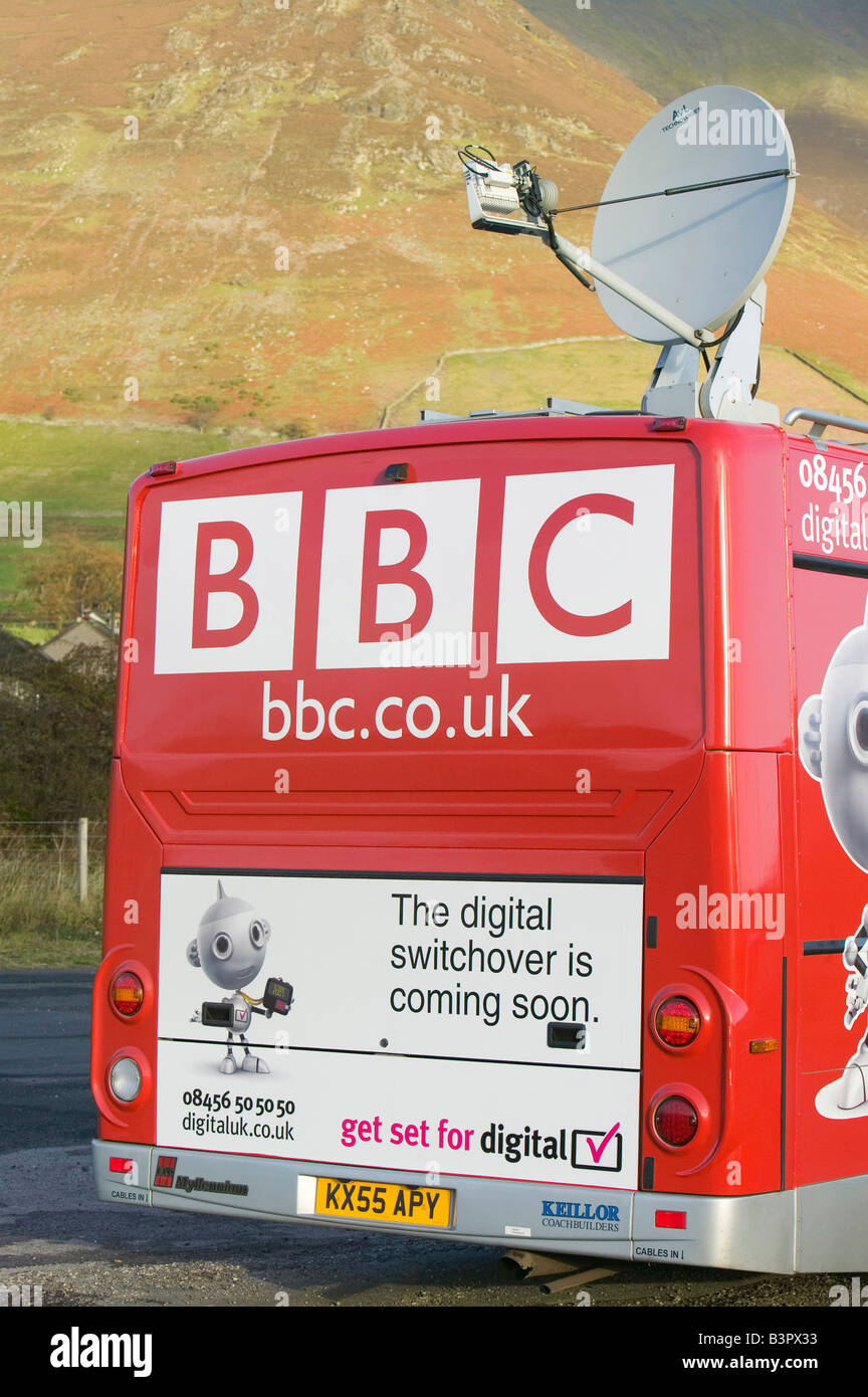 A BBC bus advertising the switchover to digital TV in Cumbria UK - Stock Image