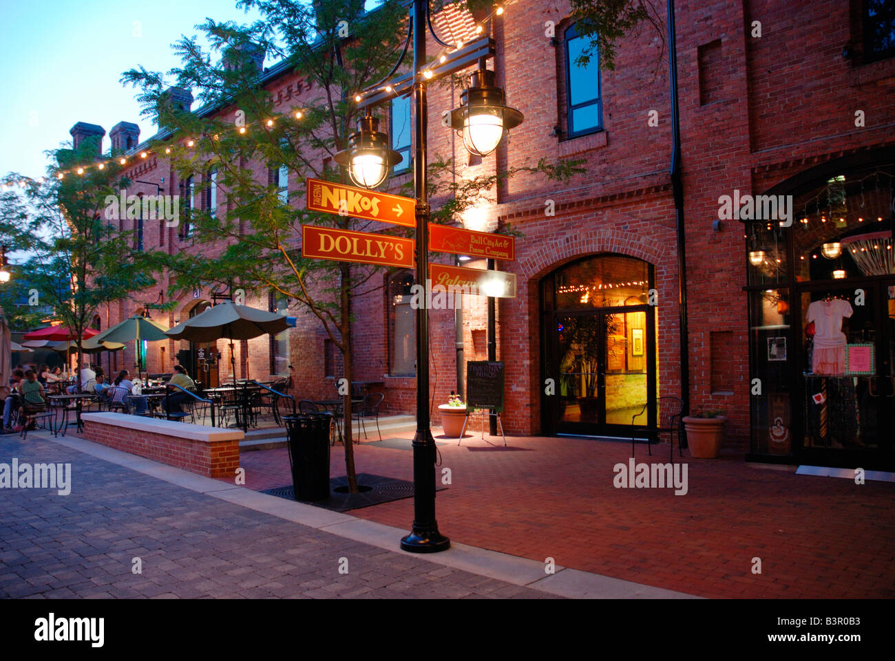 Brightleaf Square shopping and restaurants area on the site of former tobacco warehouses Durham North Carolina - Stock Image