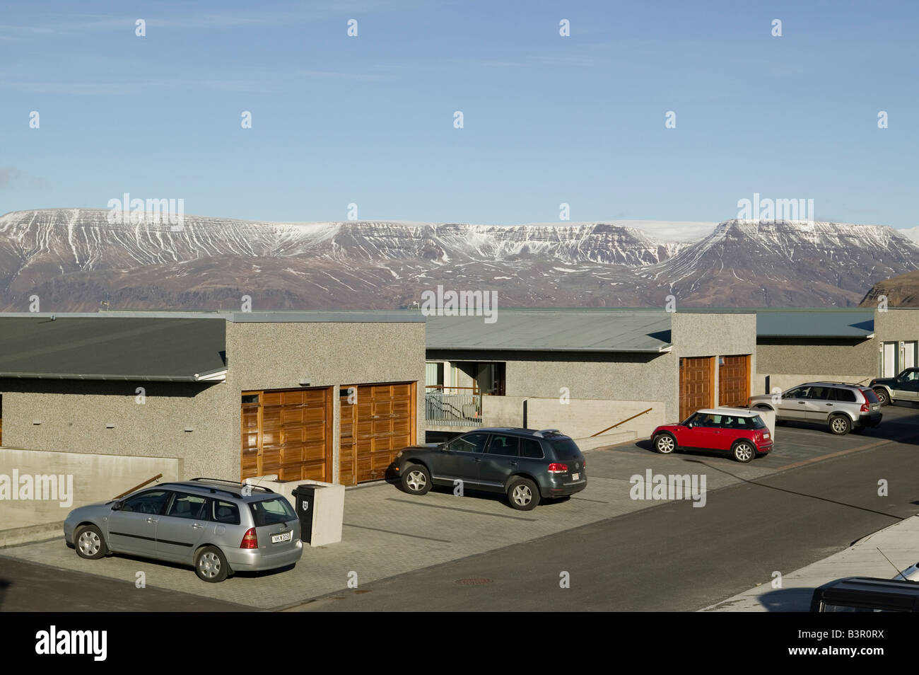 High Angle View Of Cars Parked In Front Garages Modern Houses Reykjavik Iceland
