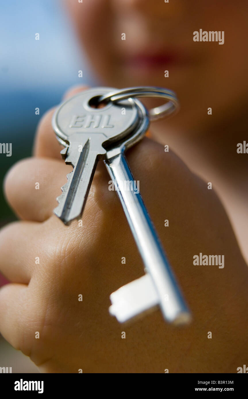 child with keys - Stock Image