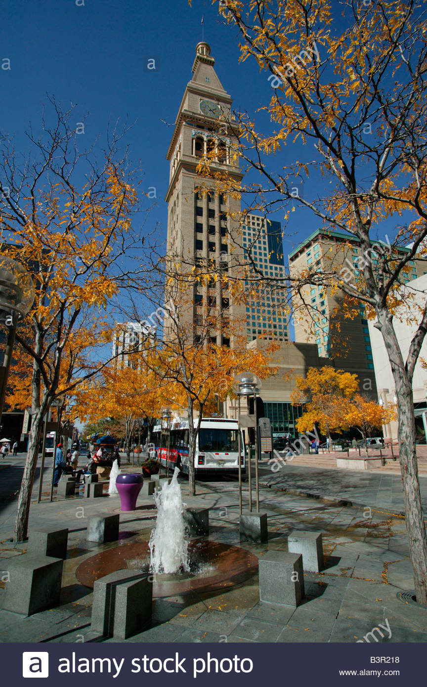 View of the Daniels and Fisher Tower, Arapahoe Street, Denver, Colorado, USA - Stock Image