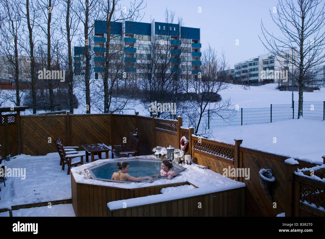 Teenage girls in a hot tub, Reykjavik, Iceland Stock Photo: 19561472 ...