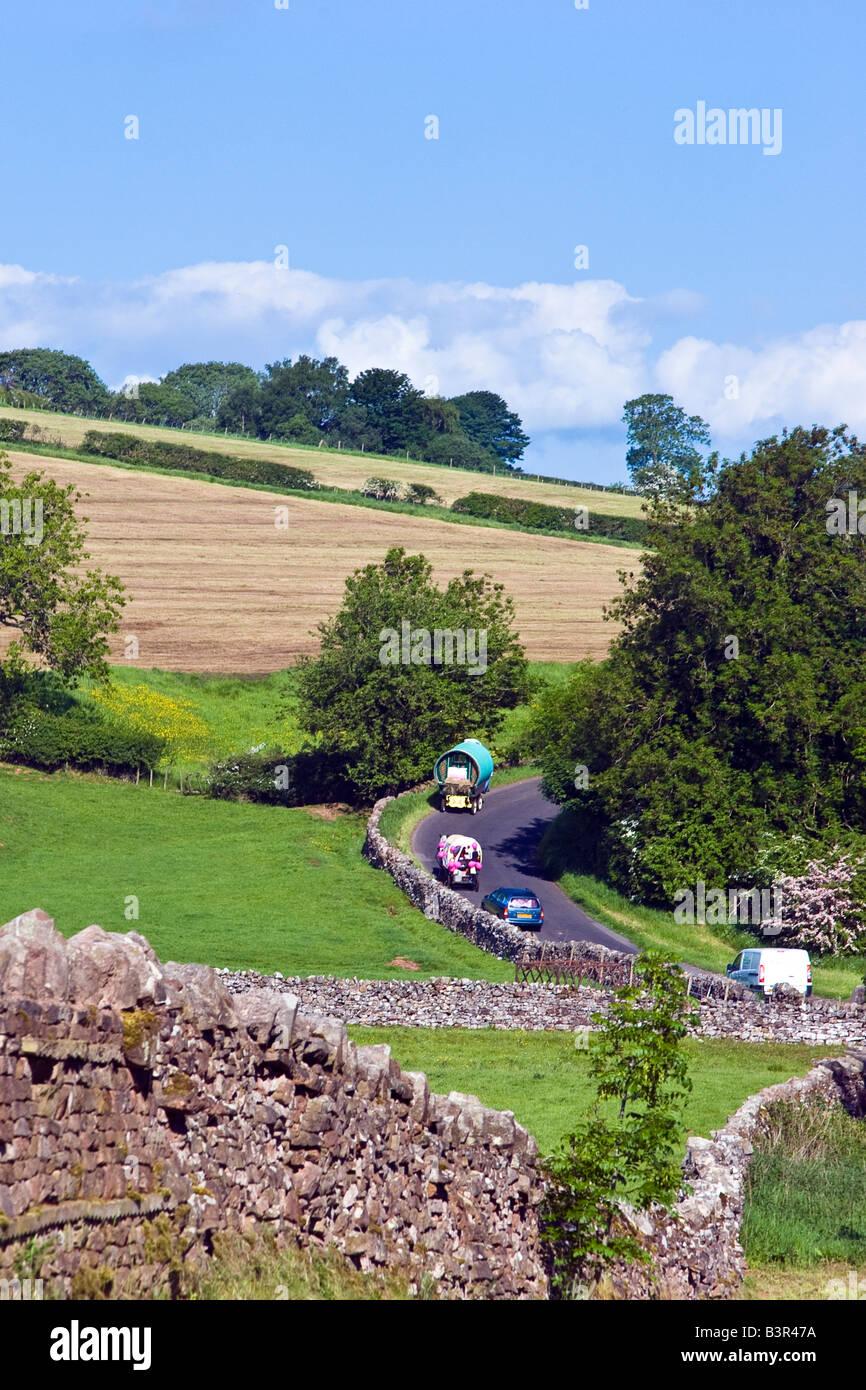 Gipsy Caravan on the road near Appleby, Cumbria, England Great Britain UK 2008 - Stock Image
