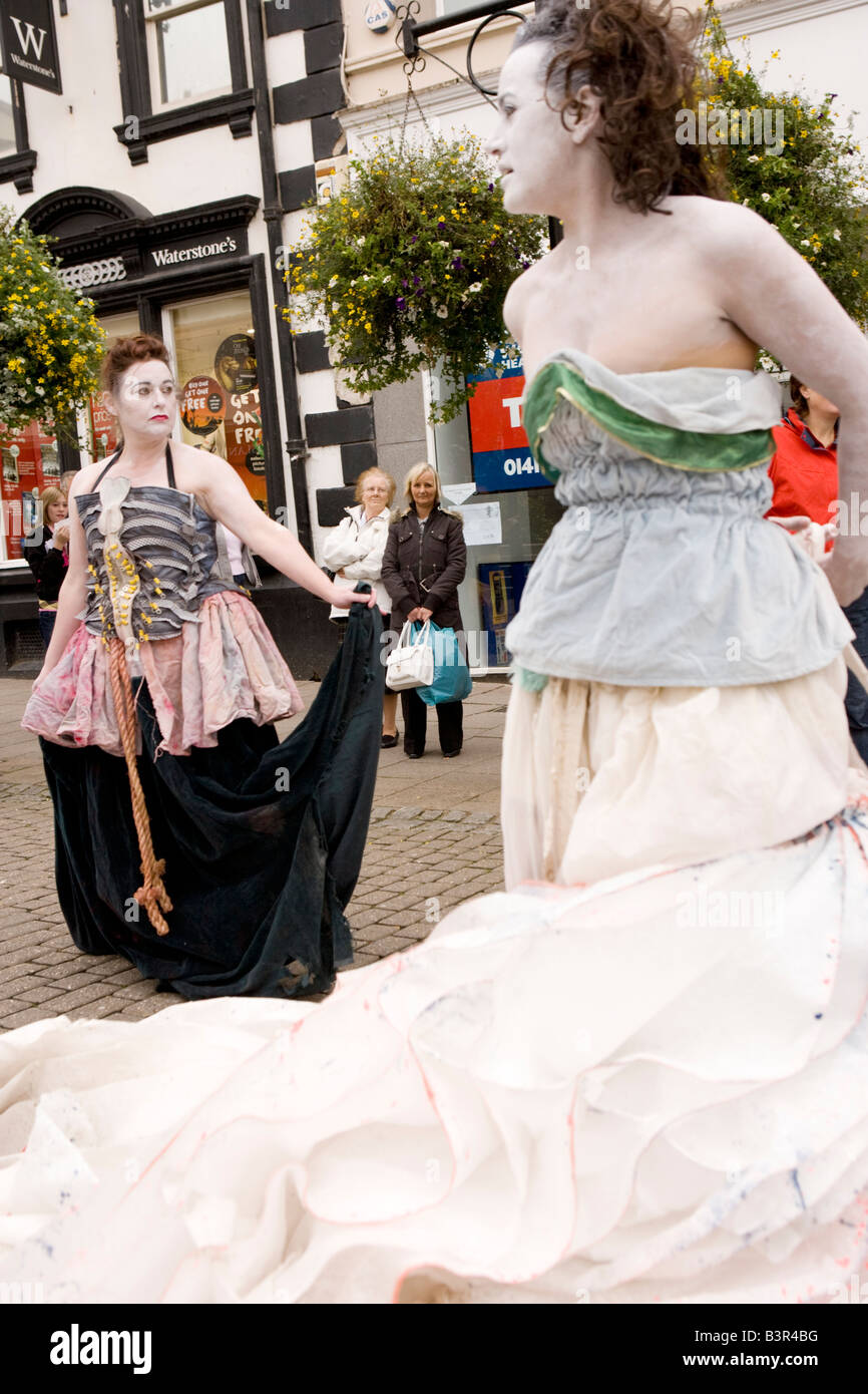 Gaelforce Arts Festival Street theatre in Dumfries town centre Oceanallover performing to crowd Scotland UK - Stock Image