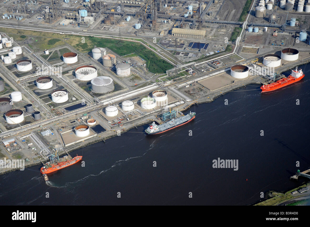 Oil tankers unloading on the River Tees, from the air, Teeside, Northern England - Stock Image
