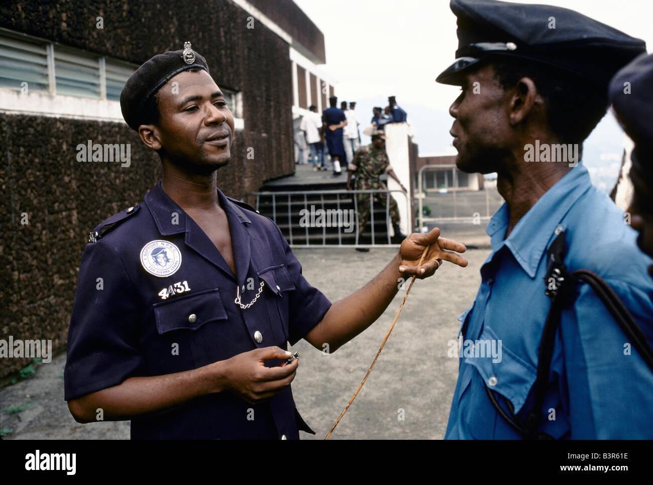 Sierra Leone Policeman At Parliament Building With Nprc Valentine