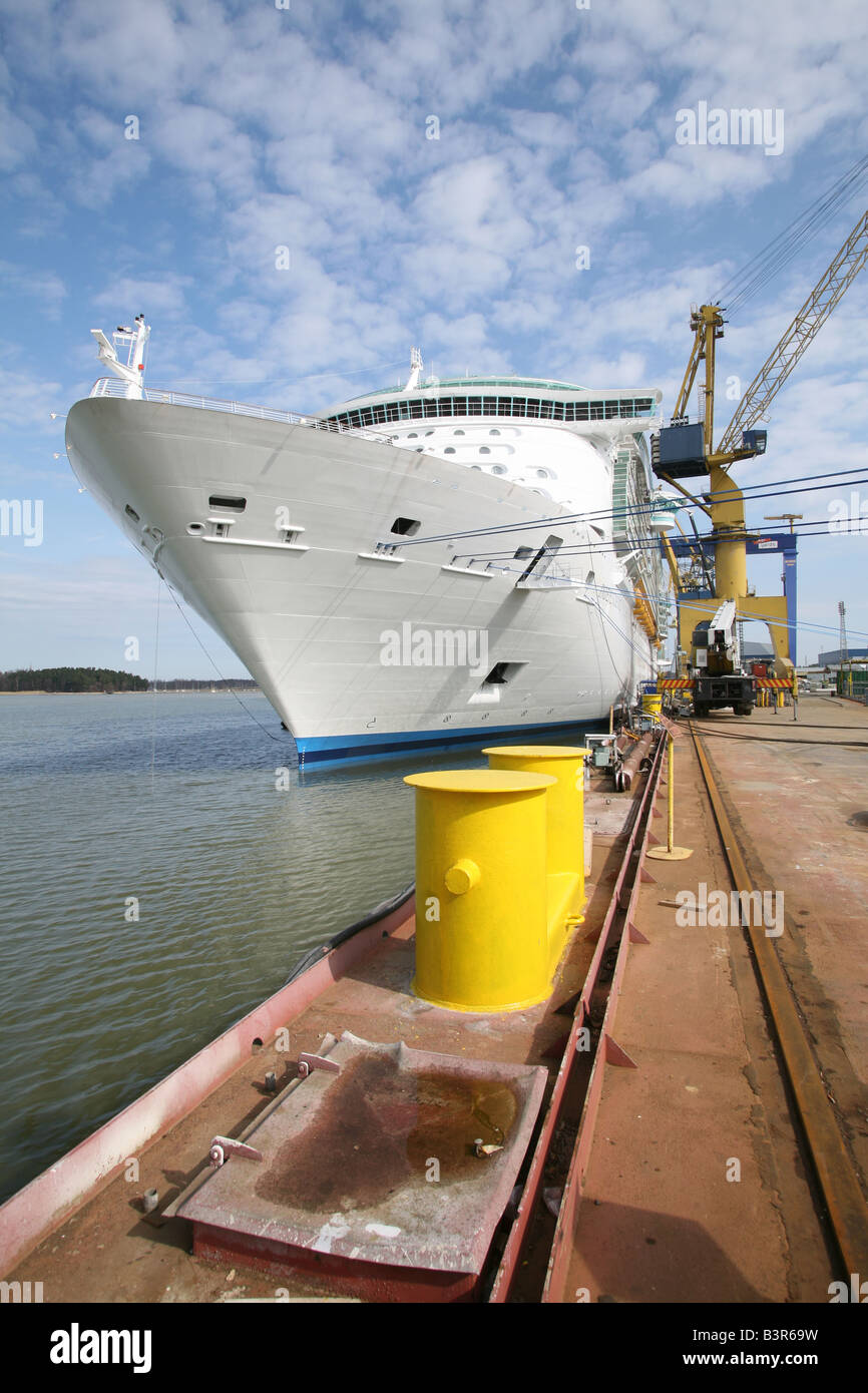 Independence of the Seas tied up at Aker Yards, Finland following her build compleation. - Stock Image
