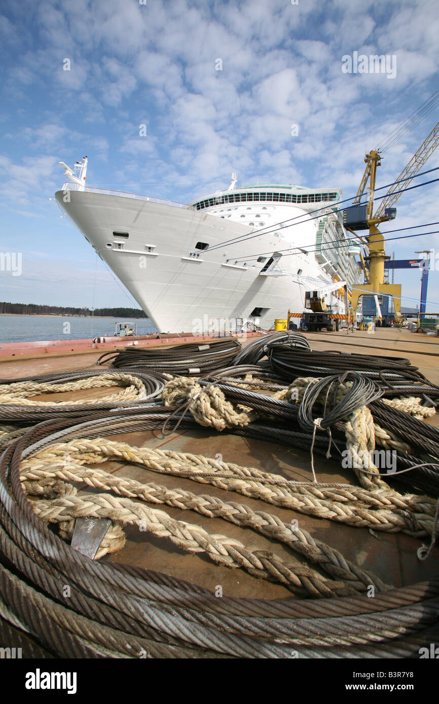 Cruise Ship Independence of the Seas tied up at Aker Yards, Finland, before her maiden voyage. - Stock Image