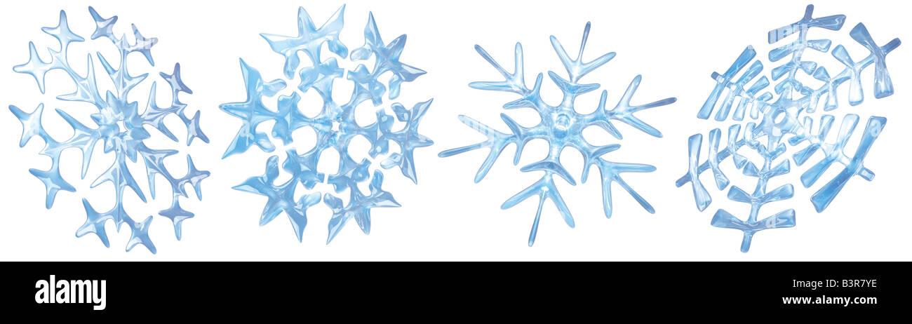 Four snowflakes on a white background - Stock Image