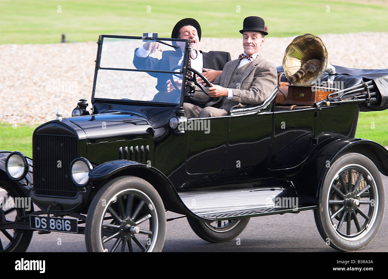 Laurel Hardy Look alikes In a Model T Ford - Stock Image