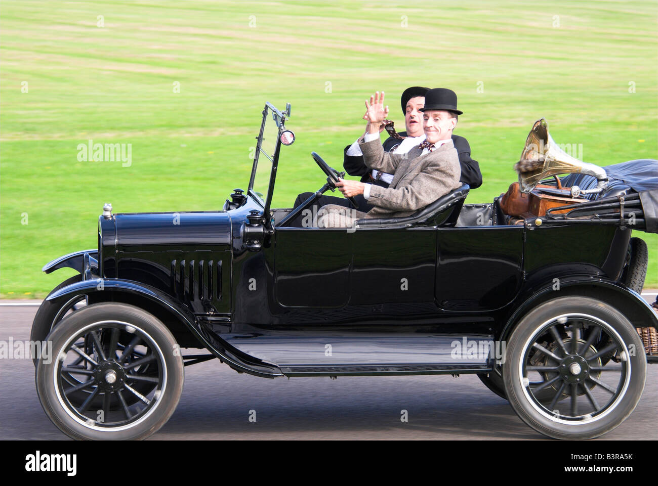 Laurel Hardy Look alikes In a Model T Ford Stock Photo