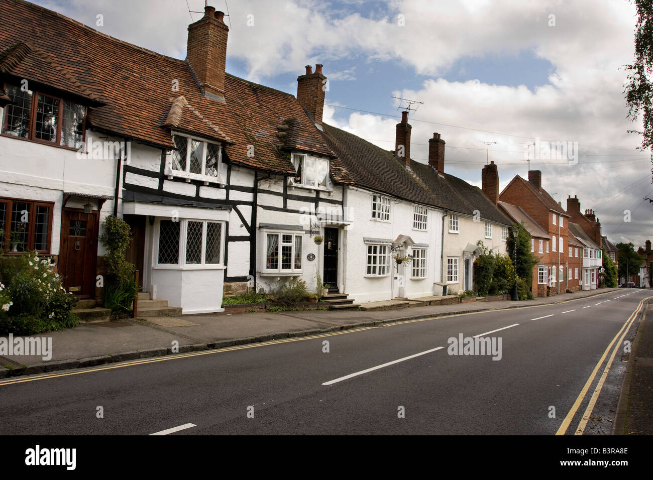 traditional houses on road into Kenilworth in Warwickshire England - Stock Image