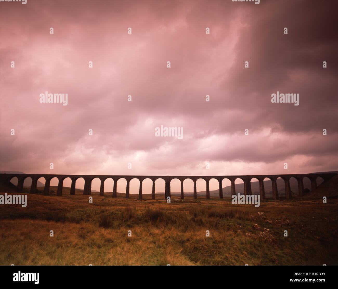 Ribblehead Viaduct, railway viaduct, North Yorkshire, northern England - Stock Image