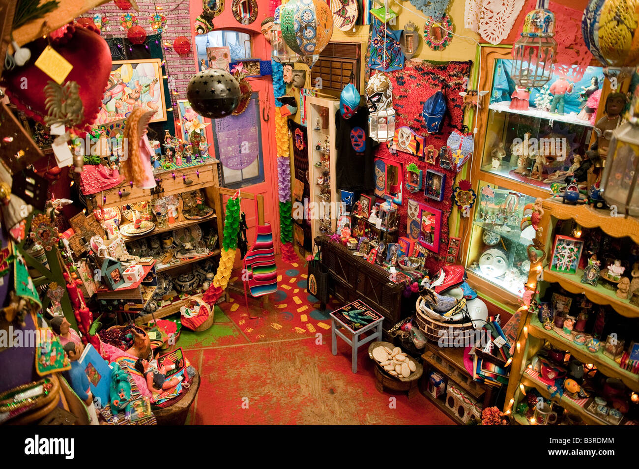 Colorful display of gifts and craft items in the Eyes Gallery on South Street Philadelphia Pennsylvania - Stock Image
