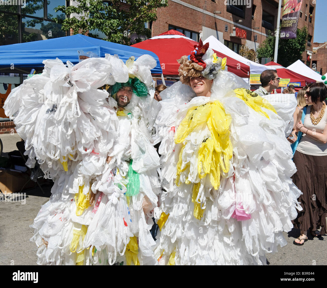 Plastic trash bag men, GreenFest Philly 2008, Philadelphia, Pa, USA - Stock Image