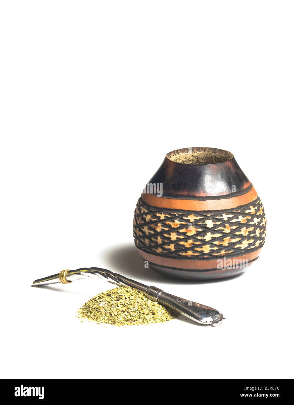 Gourd with bombilla and yerba mate - Stock Image