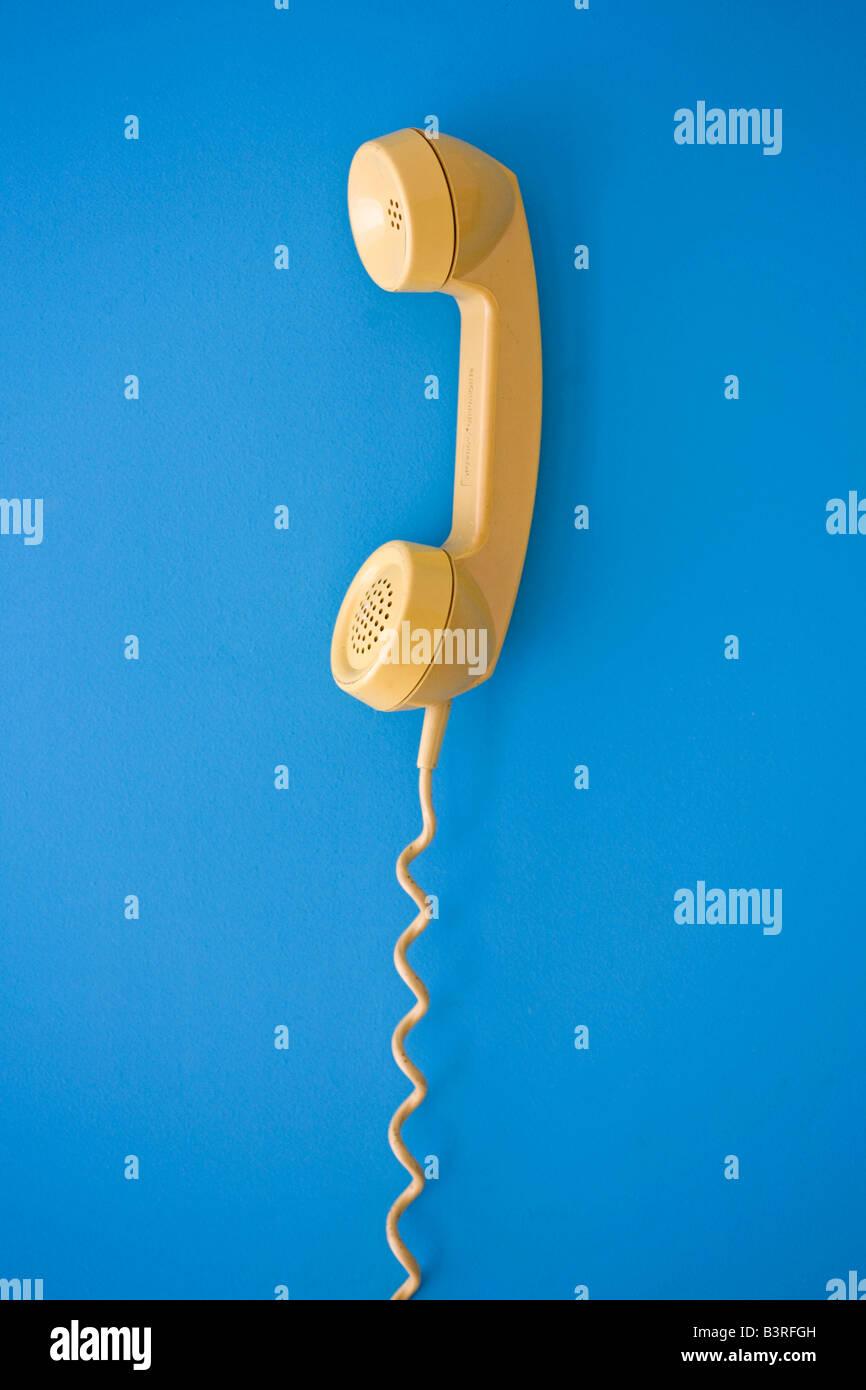 yellow telephone - Stock Image