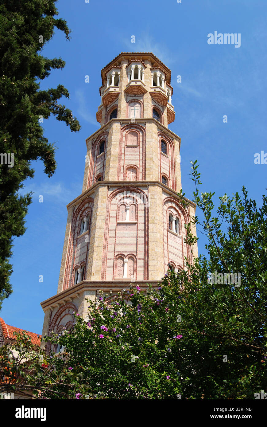 Trion Ierarchon Greek Orthodox Church bell tower, Thessaloniki, Chalkidiki, Central Macedonia, Greece Stock Photo