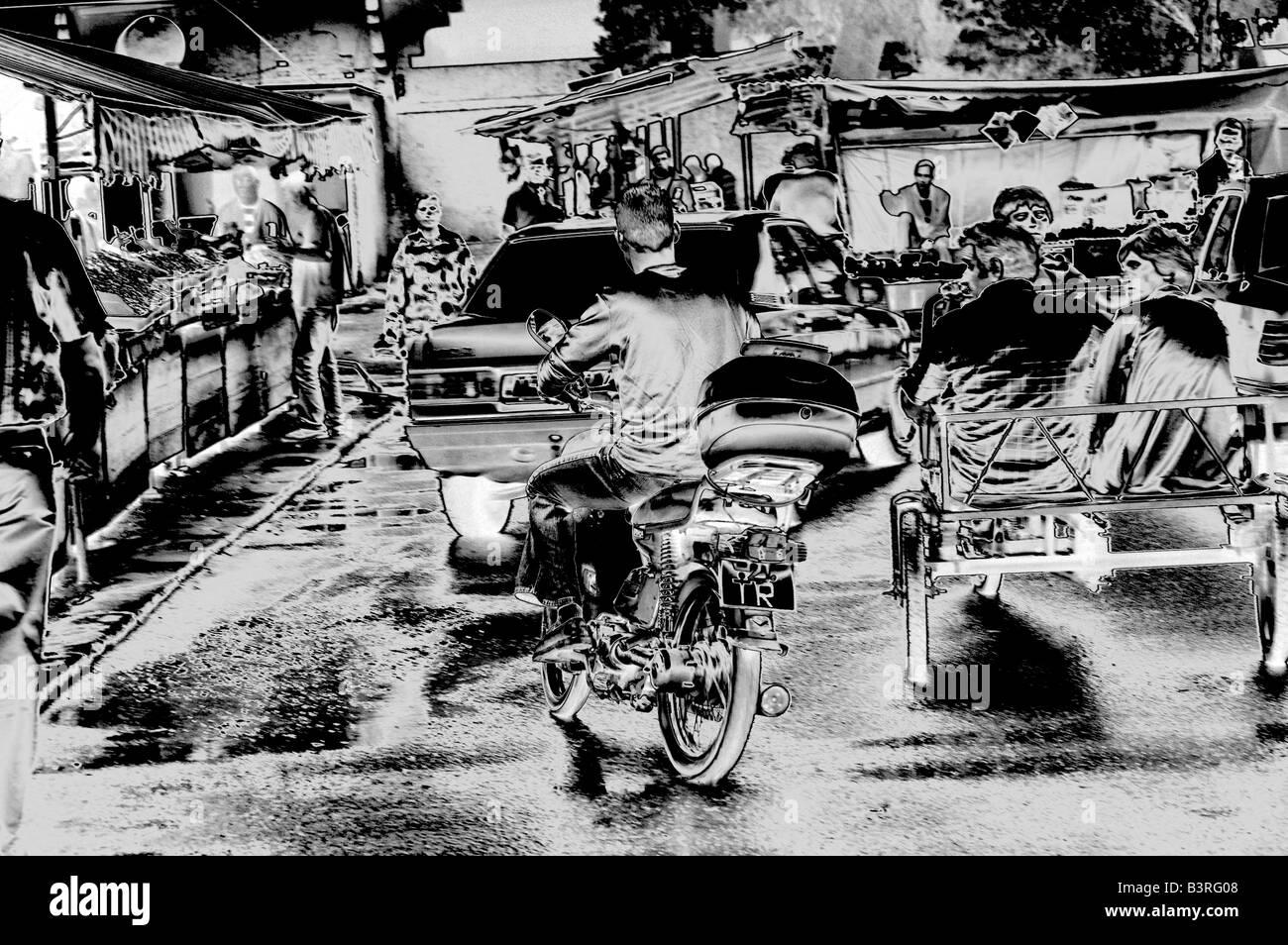 Street scene - market place - in Tyrana, Albania. Digitally altered. - Stock Image