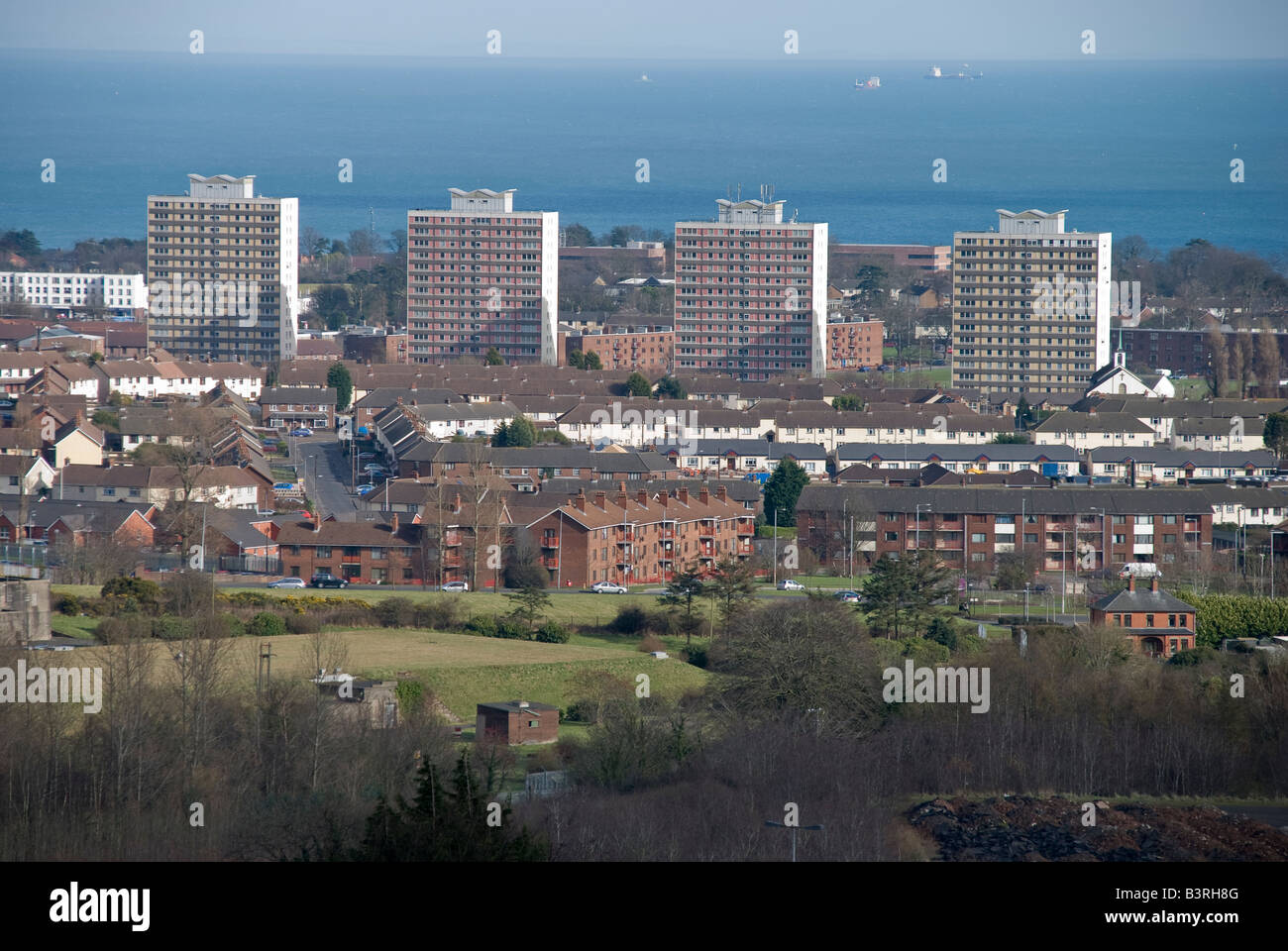Rathcoole Housing Estate, started in the 1950s and completed in the 1960s, Newtownabbey - Stock Image