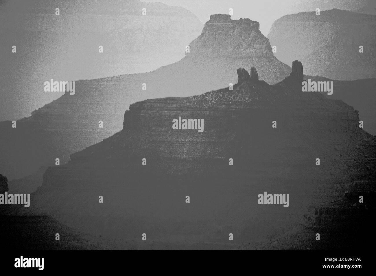 Grand Canyon National Park - Arizona - After sunset - Arizona USA - Digitally manipulated Stock Photo