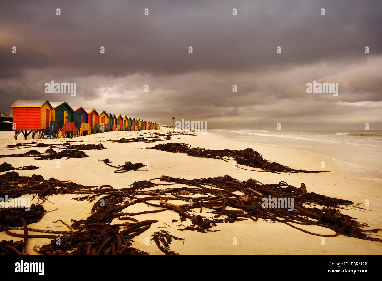 Changing huts along the beach, Cape Town, South Africa - Stock Image