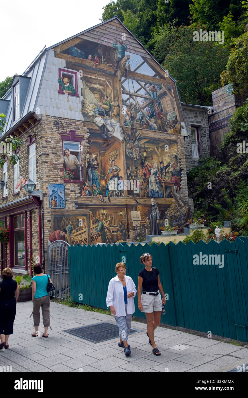 Building Wall Painting In Quebec City At 400 Years Old Most Stock