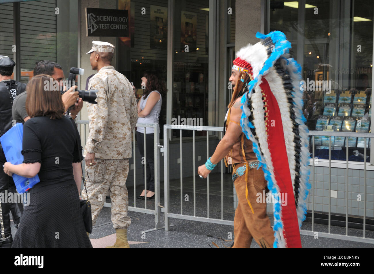 Two members of the group the Village People arriving for awards ceremony on Hollywood Boulevards Walk of Fame, Hollywood - Stock Image