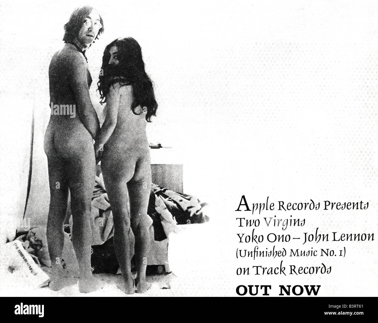 Advert for Unfinished Music No.1:Two Virgins Album LP record John Lennon & Yoko One Apple Records January 1969 - Stock Image
