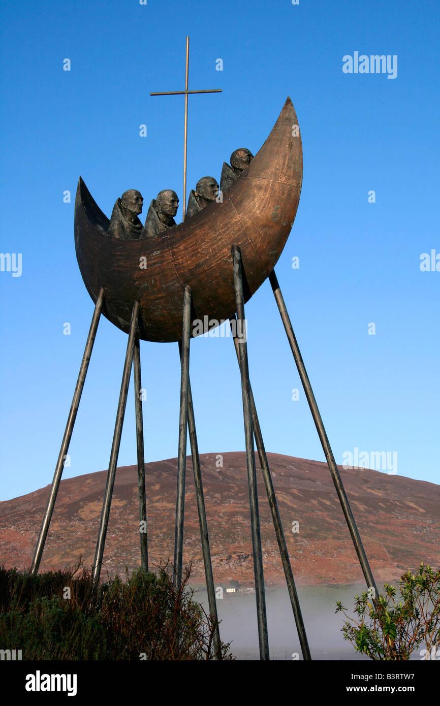 St. Brendan Sculpture outside Caherciveen, Co Kerry, Ireland - Stock Image