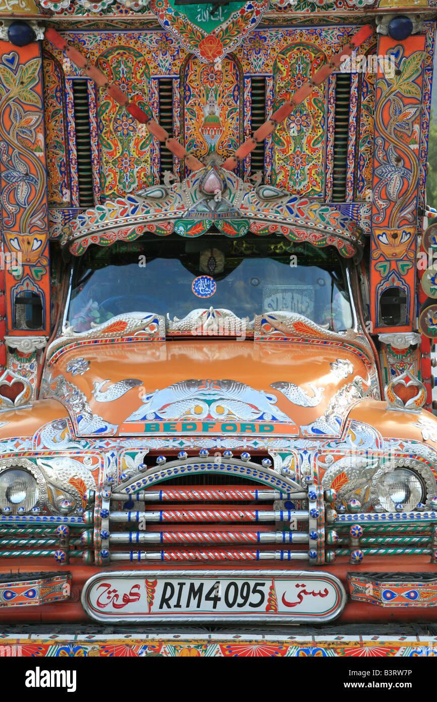 Truck on the Karakoram Highway in Pakistan. - Stock Image