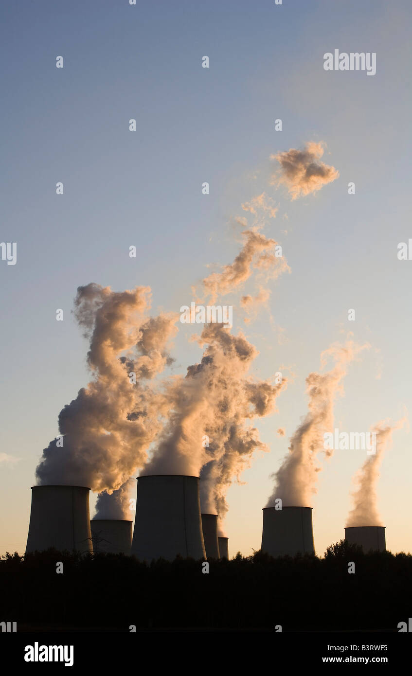 Brown coal power plant Jaenschwalde, one of the worlds power plants with the highest emission during sunset - Stock Image