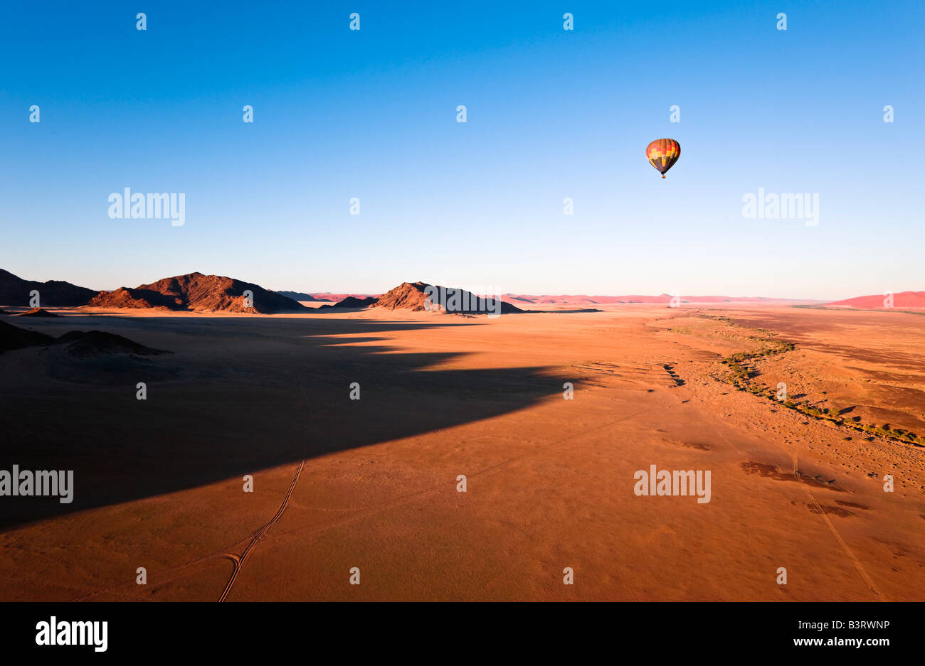 Hot Air Balloon over Naukluft Park, Namibia, Africa - Stock Image