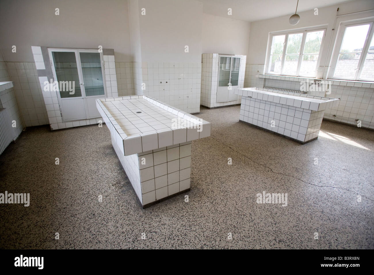 Memorial site Concentration Camp Sachsenhausen pathology with dissection table - Stock Image