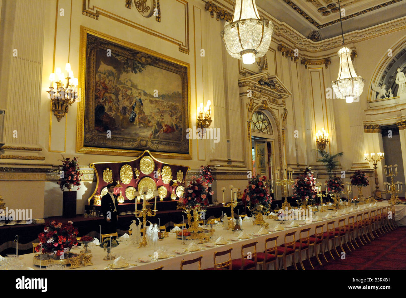 The Ballroom At Buckingham Palace In London England Set Up For A State  Banquet.
