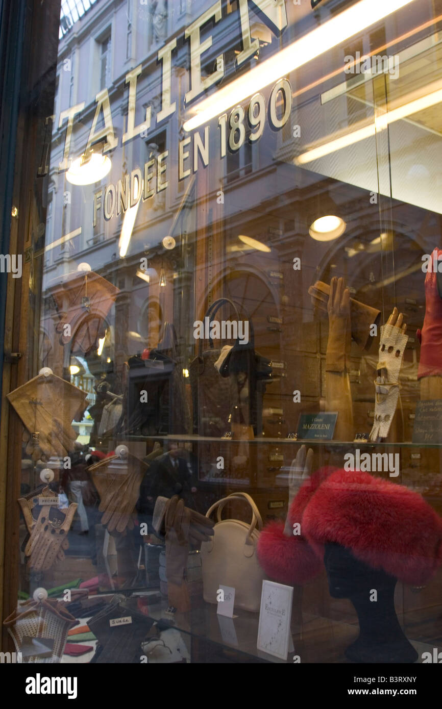 Shop selling traditional mens leather gloves, hats and fashion accessories on the Galeries Royales St Hubert in Brussels Belgium Stock Photo