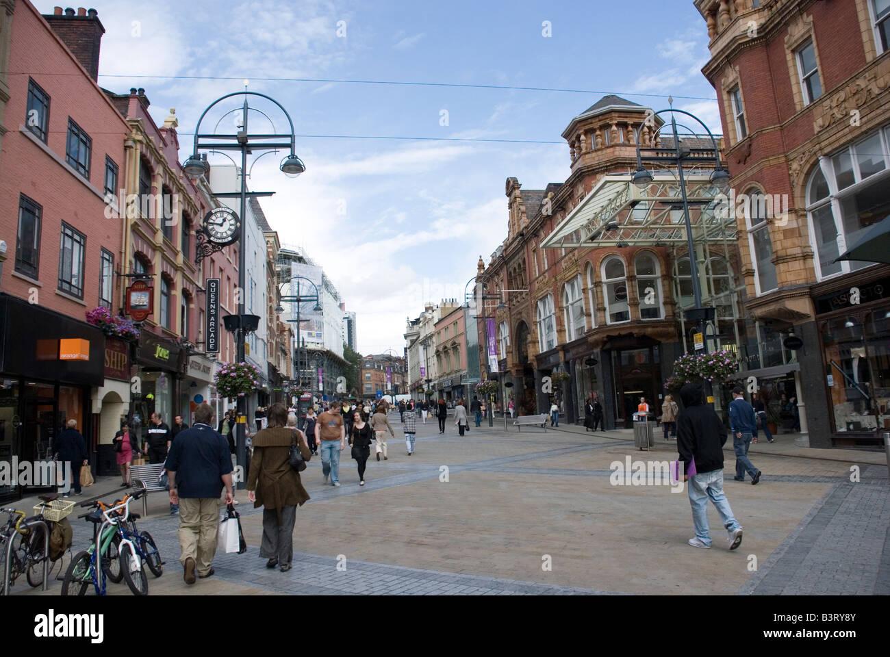 Shopping on Briggate, Leeds. - Stock Image