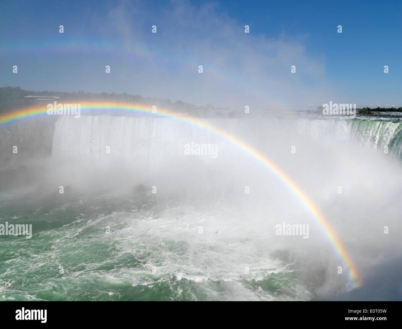 Canada,Ontario,Niagara Falls,Canadian Falls with a double rainbow - Stock Image