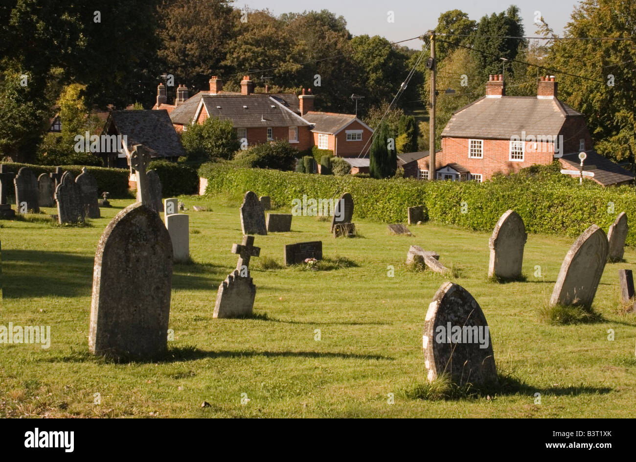 Tombstones at Emery Down in The New Forest - Stock Image