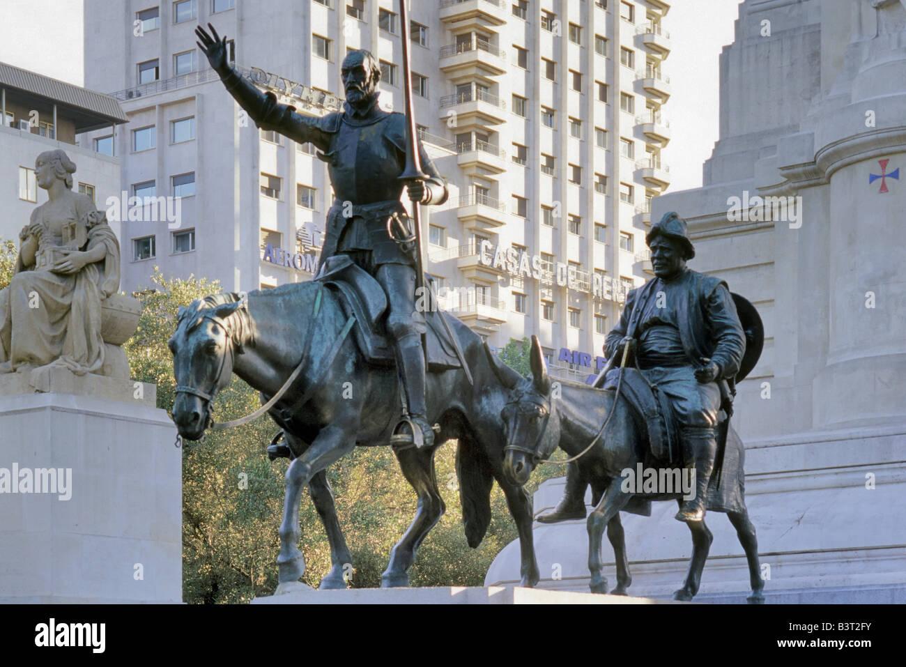Don Quixote, Sancho Panza statues at Plaza de Espana, Madrid, Spain ...