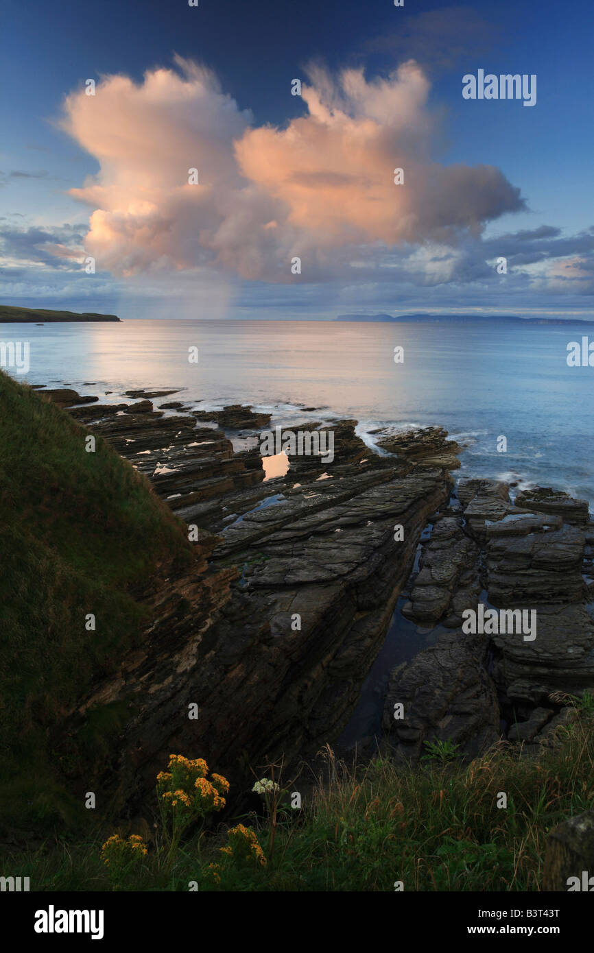 Pentland Firth and Hoy Orkney from Thurso Caithness Scotland - Stock Image
