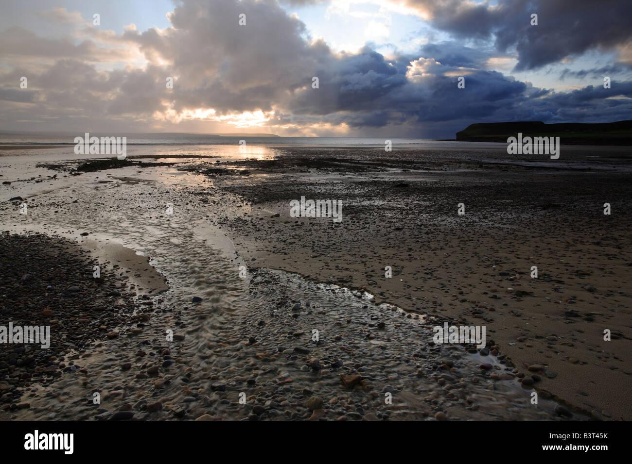 Dunnet Bay at sunset from Dunnet near Thurso Caithness Scotland - Stock Image